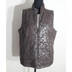 Chico's Brown Animal Print Vest Size Large